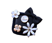 Antique Style Flower Kidsl Brooch Lovely Sweater Hat Corsage Pin Clips Black