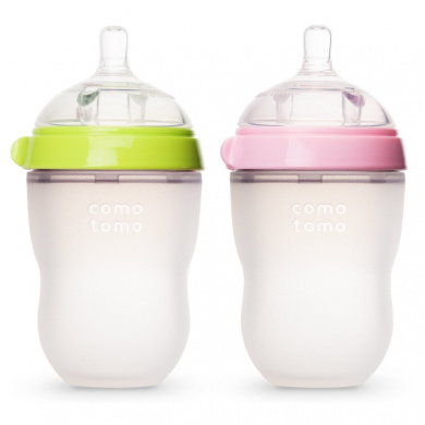 Comotomo Baby Bottle, Green/Pink, 240ml, 2 Count (Discontinued by Manufacturer)