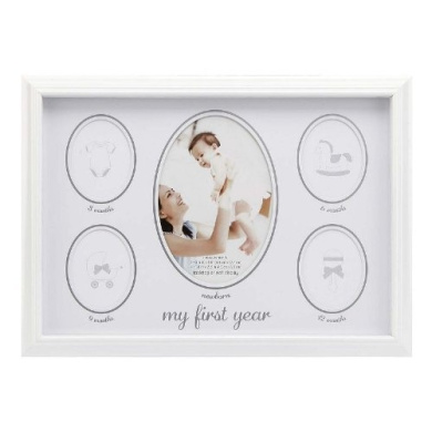 C.R. Gibson Stepping Stones My First Year Keepsake Frame, White (Discontinued by Manufacturer)