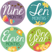 ". Stick'Nsnap(TM) 30cm Flowers Blooms"" Pastel milestones monthly growth stickers. 8.3cm inch diameter. To put on shirt bodysuit creeper bibs bottoms or ONESIE. Bright bold colours."
