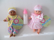 Baby Dolls 2 Mini Toysmith Baby Dolls Caucasian + African American Plus Disappearing Milk Baby Doll Bottle Ages 3yrs +