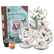 Reutter Porcelain Butterfly Tea Set In a Story Book Box