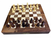 Chess Set - Portable Sisam Wooden Handmade International Chess Set 25cm X 25cm W-40019, Gift for Christmas or Birthday to Your Loved