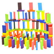 100-piece Wooden Domino Blocks Set, Racing Toy Game, Building and Stacking Toy Blocks
