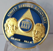 35 Year Ocean Breeze Blue & Gold Plated AA Founders Alcoholics Anonymous Medallion Chip Vinyl Protector