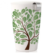 Tea Forte KATI Single Cup Loose Leaf Tea Brewing System, Insulated Ceramic Cup with Tea Infuser and Lid, Green Leaves - NEW Infuser Design