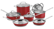 Cuisinart 11 Piece Chef's Classic Stainless Colour Series Set, Red