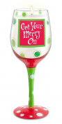 Epic Products Get Your Merry on Hand-Decorated Wine Glass Candle, Multicolor