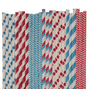 Dr Seuss Paper Straw Mix - Red and Blue - Striped, Polka Dot, Cevron