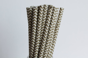 Gold Chevron Paper Straws (25)
