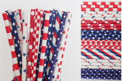 Red and Blue Patriotic Paper Straw Mix