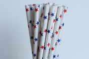 Red and Blue Stars Paper Straws