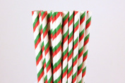 Red and Green Christmas Striped Paper Straws