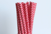 Red Chevron Paper Straws (25)