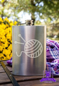 Knitting needles and yarn 240ml Stainless Steel Flask