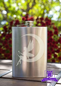 Whimsical Fairy Sitting upon Cresent Moon 240ml Stainless Steel Flask