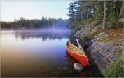 Canoe-on-Pinetree-Lake tourism scenery features creative tourism souvenirs Magnetic fridge magnet