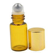 TOPWEL 5ml Refillable Amber Glass Roller Bottles with Metal Roller Balls and Gold Plastic Lids