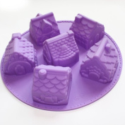 X-Haibei 3d Mini Houses Bundt Cake Soap Christmas Gift Gingerbread Houses Silicone Mould