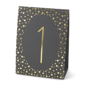 Hortense B. Hewitt Wedding Accessories Gold Polka Dot Table Tents, Numbers 1 to 40