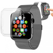 Orzly® - InvisiCase for APPLE WATCH (42mm) - 100% CLEAR (100% Transparent Colour) Protective Shell for Full Screen & Side Cover for use with the APPLE WATCH