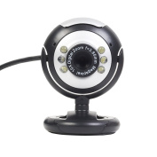 Fosmon USB 6 LED 12.0 Megapixel USB PC Webcam Web Camera + Night Vision + Mic / Microphone MSN, ICQ, AIM, Skype, Net Meeting and Support Windows 2000/XP/Vista and later