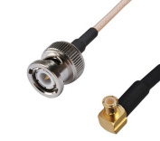 RF coaxial coax cable assembly BNC male to MCX male right angle 90cm