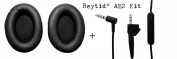 Reytid® Cable & Ear Cushion Kit for Bose AE2/AE2i/AE2w Headphones - Black Leather & In-Line Remote - Replacement Headphone Lead Ear Pad EarPads Cord Around-Ear