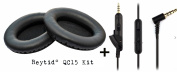 Reytid® Cable & Ear Cushion Kit for Bose QuietComfort 15 (QC15) Headphones - Black Leather & In-Line Remote - Replacement Headphone Lead Ear Pad EarPads Cord
