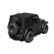 Rugged Ridge 13722. 35 Black Diamond XHD Replacement Soft Top With Skins, Tinted 88-95 YJ