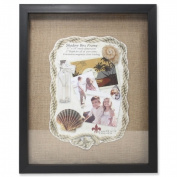 Lawrence Frames 530511 Front Hinged Shadow Box Frame With Burlap Display Board - Black, 0. 200cm