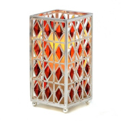 CandleTEK Décor 31-00051-03 7 Jewel Hurricane with Flameless Candle & Timer Red