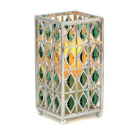 CandleTEK Décor 31-00051-02 7 Jewel Hurricane with Flameless Candle & Timer Green
