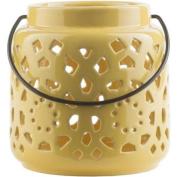 17cm Madison Links Sunshine Yellow Ceramic Small Pillar Candle Holder Lantern