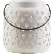 17cm Madison Links Ivory White Ceramic Small Pillar Candle Holder Lantern