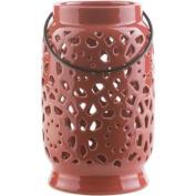 24cm Madison Links Cherry Red Ceramic Medium Pillar Candle Holder Lantern