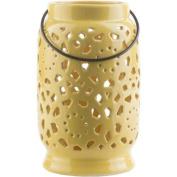 24cm Madison Links Sunshine Yellow Ceramic Medium Pillar Candle Holder Lantern