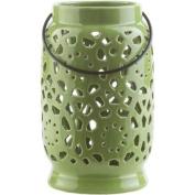 24cm Madison Links Green Apple Ceramic Medium Pillar Candle Holder Lantern
