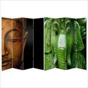 Oriental Double Sided Buddha and Ganesh Canvas Room Divider