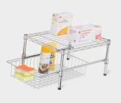 Honey-Can-Do SHF-03525 cabinet organiser adjustable shelf with basket Chrome Plated Steel