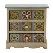Benzara 56650 Gorgeous Wood Canvas Table Chest