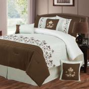 Lavish Home Hannah 7 Piece Embroidered Comforter Set - King