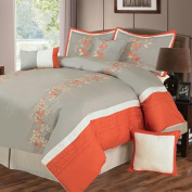 Lavish Home Branches 7 Piece Embroidered Comforter Set - K