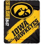 Northwest NOR-1COL031020002RET 130cm x 150cm . Iowa Hawkeyes NCAA Light Weight Fleace Blanket Paint Series