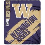 Northwest NOR-1COL031020037RET 130cm x 150cm . Washington Huskies NCAA Light Weight Fleece Blanket Painted Series