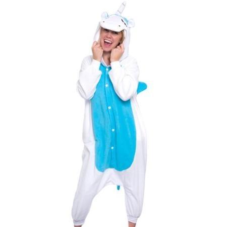 SILVER LILLY Adult Blue Unicorn Plush One Piece Animal Cosplay ... fb0470506