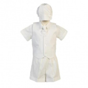 Lito Little Boys White Poly Cotton Vest Hat Shorts Christening Outfit Set 3T