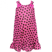 I.C. Collections Little Girls Fuchsia Black Dotted Bow Nightgown 2T-6X