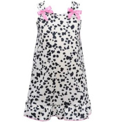 I.C. Collections Little Girls Black White Spot Pink Bow Nightgown 2T