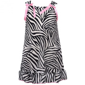 I.C. Collections Little Girls Black White Zebra Stripe Bow Nightgown 3T